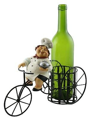 Kitchen Decorative Lady Chef with Dish Smiling on Bicycle Metal Wine Bottle