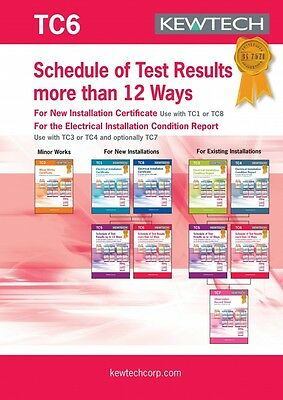 Kewtech TC6 Schedule of Test Results more than 12 Ways