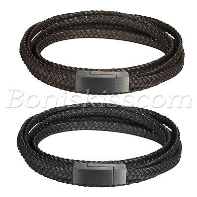 Mens Multi-layer Twisted Leather Wrap Strap Stainless Steel Buckle Bracelet Cuff