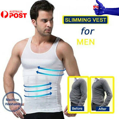 MENS Body Slim Slimming Compression Vest Body Shaper Beer Belly Trimmer Tummy