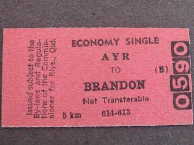 AYR to BRANDON ECONOMY SINGLE TICKET  QUEENSLAND RAILWAYS