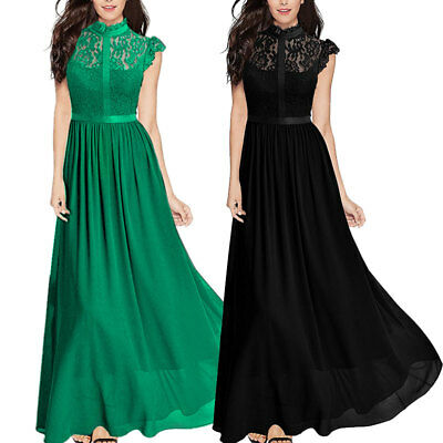 Women Chiffon Lace Dress Ladies Bridesmaid Evening Formal Party Maxi Ball Gown