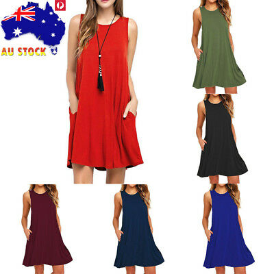 Plus Size Summer Women Sleeveless Mini Swing Dress Casual Loose Beach Sundress