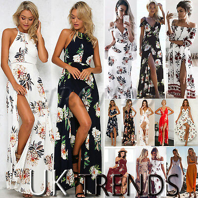 Womens Holiday Sleeveless Damen Maxi Long Sommer Print Strandkleid