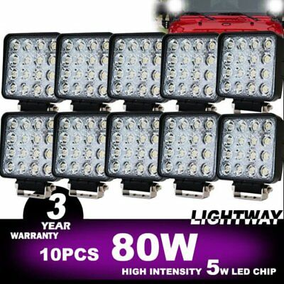 10x 80W FLOOD LED Work Lights Bar Offroad 4WD Truck 12V 24V Fog Work Lamp DP