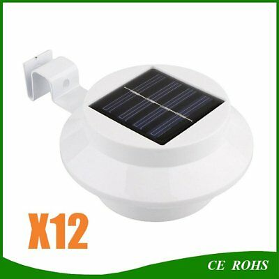 12X 3LED Solar Fence Light Gutter Lamp Outdoor Garden Yard Pathway Wall Bulb KEX