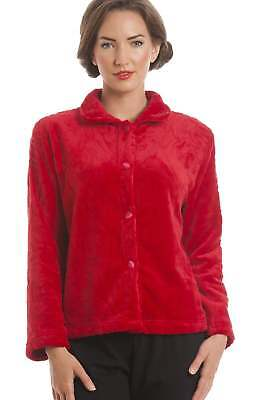 Camille Ladies Luxury Supersoft Red Button Up Fleece Bed Jacket Pyjama Top