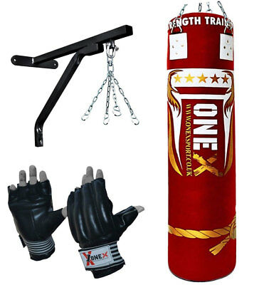ONEX 5ft Filled Heavy Punch Bag 6 Stand Chain Punchbag Kickbag kick boxing MMA