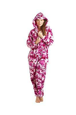 Camille Womens Nightwear Pink White Abstract Hooded Fleece All In One Sleepsuit