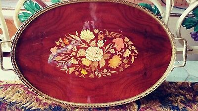 """Vintage Sorrento Italian Inlaid Wood Marquetry Oval Serving Tray 23""""l x 19""""w"""