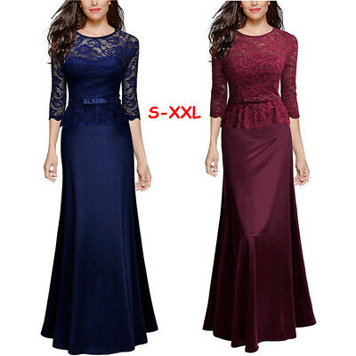 Women Ladies Long Lace 3/4 Sleeve Evening Party Cocktail Prom Formal Maxi Dress