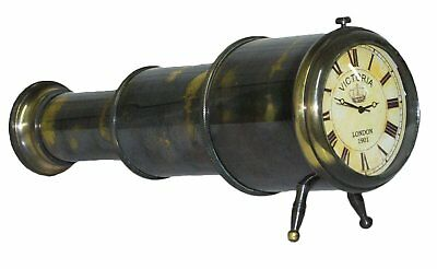 Nautical Décor Gift Genuine Brass Telescope Desktop Clock