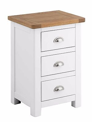 Hampton White Bedside Table with Oak Top/Solid Wood Painted Bedside Cabinet /New