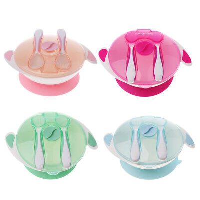 Baby Feeding Spill Proof Suction Bowl with Spoon and Fork Food Grade