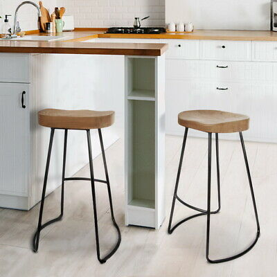 2pcs Bar stool Wooden Seat Steel Base Metallic Finish Home Furniture Natural