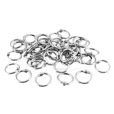 50 Pcs Staple Book Binder 20mm Outer Diameter Loose Leaf Ring Keychain Y9D5