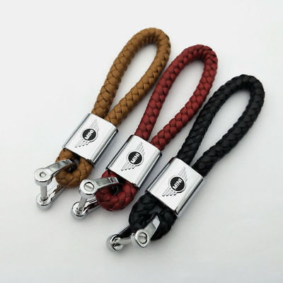 Car Key Chain Braided Leather Cord Strap Car Logo Key Ring for Mini Cooper