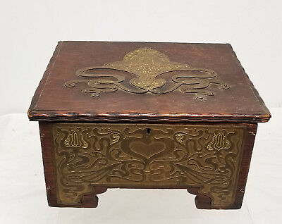 Antique Vintage Art Nouveau Bronze Oak Casket Jewelry Box Arts and Crafts