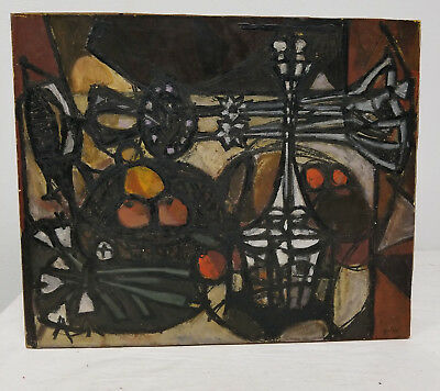 Antique Vintage Mid Century MCM Abstract Painting SIgned Julia Modern