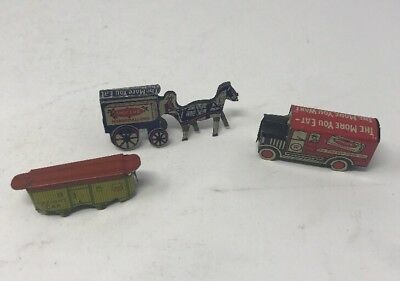 Lot of 3 early Cracker Jack tin toy prize Freight Car Train Truck Horse Carriage