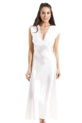 Camille Womens Ladies Luxury Long Ivory Lace Satin Chemise Nighty