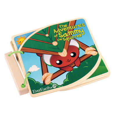 """EverEarth """"The Adventures Of Sammy The Squirrel"""" Wooden Baby Book with Tags UK"""