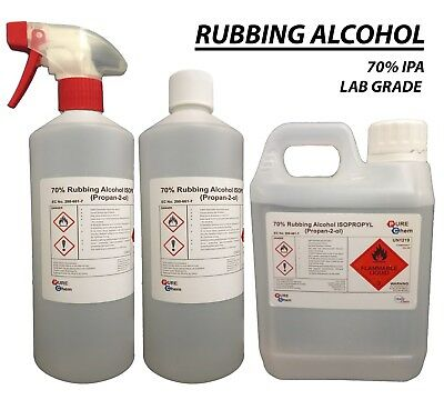 Rubbing Alcohol 1L | 70% IPA | Lab Grade Quality | 1 Litre - Container OPTIONS