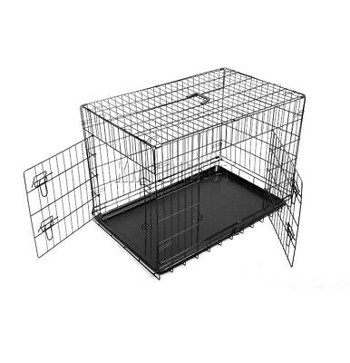 """Dog Cage Crate 24"""" Puppy Kennel Training Carrier Folding Cages"""