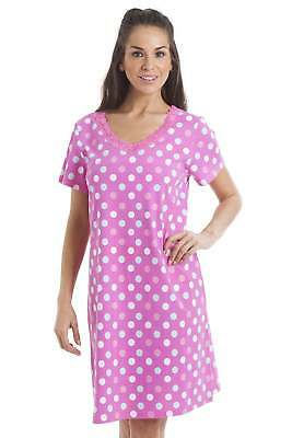a2bdc81f Camille Womens Ladies Multi-Coloured Polka Dot Pink Cotton Nightdress nighty