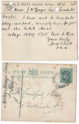 DUNDEE Wm C Scott, Dudhope, Business Postcard Postmarked Dundee 1898