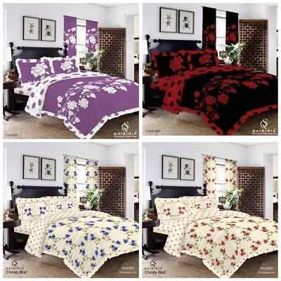 Frilled Duvet Cover with Pillow Case Quilt Cover Bedding Set OR Window Curtains