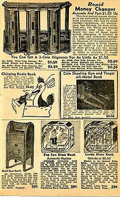 1950 small Print Ad of Rapid Money Changer Mail Box Popeye & Lucky Dime Bank
