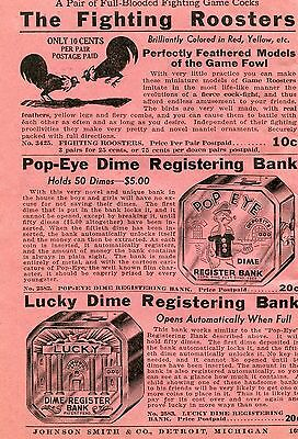 1936 small Print Ad of Fighting Roosters Popeye & Lucky Dime Registering Bank