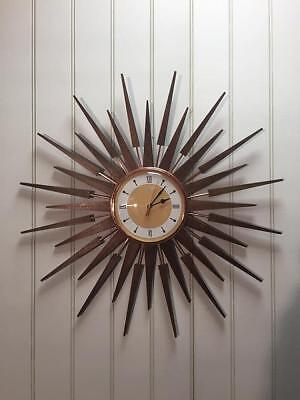 Large Mid Century Seth Thomas Style Starburst Clock Hand Made in the UK - Yellow