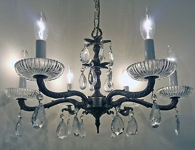 Mid-Century Regency Chandelier Ornate Brass Crystal Prisms 6-Light Vintage Spain
