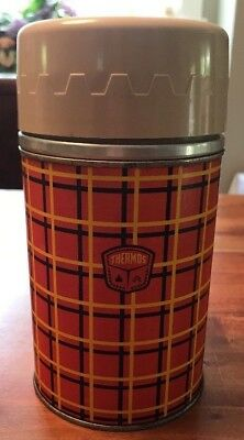 Thermos Vintage 8 ounces 1964 Plaid red #2842 King-Seeley Thermos Co
