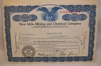 1936 New Idria Mining & Chemical Co. 100 Shares Stock Certificate mercury mined