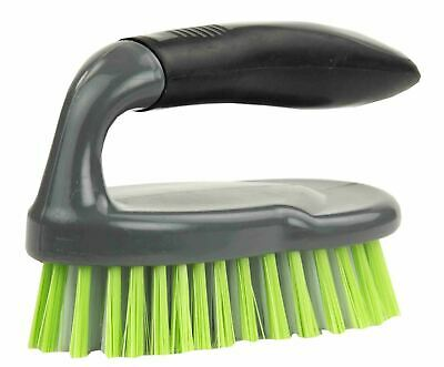Home Basics Brilliant Scrubbing Brush with Handle, Grey/Lime - PB41504