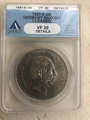 1891-E Germany-Saxony 5 Mark ANACS VF 30 Details German Empire Silver Coin Crown