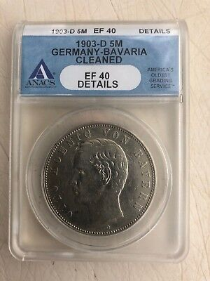 1903-D Germany-Bavaria 5 Mark ANACS EF 40 Details German Empire Silver Coin