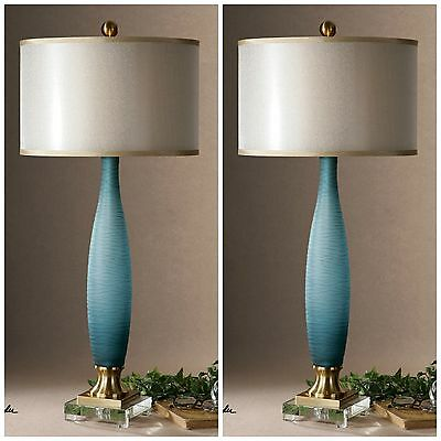 Two New Etched Frosted Cobalt Blue Glass Table Lamp Crystal Foot