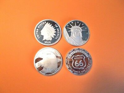 "Lot of 4 -  1 Oz. .999 Silver Rounds  -  Another ""Great to Have"" for Collectors."