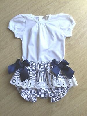 Gorgeous Girls Spanish Style T-Shirt And Pants Set In Navy And White By Mintini