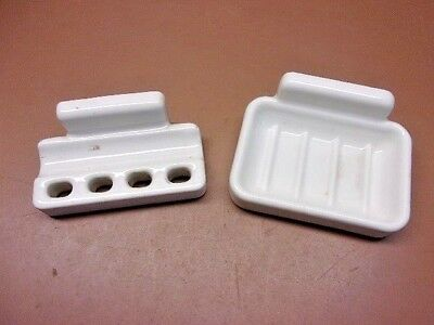 Antique WHITE PORCELAIN Wall Mounted Toothbrush/Toothpaste Holder & Soap Dish