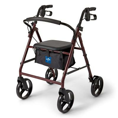 "NEW Rollator With 8"" Casters Rollator Walker Burgundy Padded Bottom Cushion Seat"