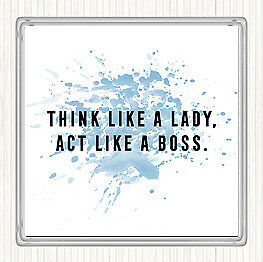 Blue White Act Like A Boss Inspirational Quote Drinks Mat Coaster