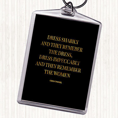 Coco Chanel Dress Quote Print Black Gold Wall Art Picture 395