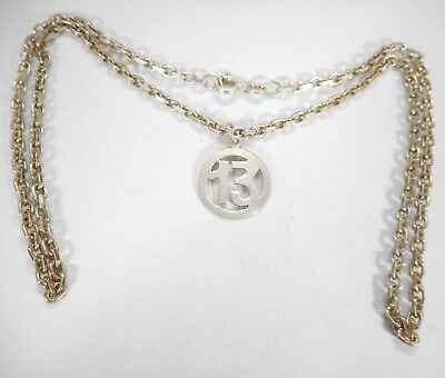 "Vintage 925 Solid Sterling Silver Gilt Chain 17.5 "" Hallmarked & Nice Pendant"