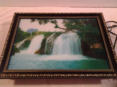 "Framed lighted motion waterfall picture 17"" x 13"" - NIB"