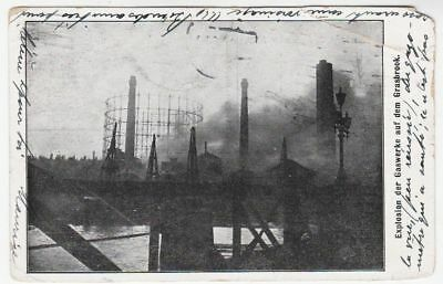 GERMANY - 1909 Grasbrook Gas Works Explosion - used postcard - with faults